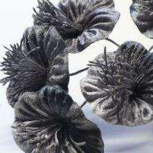 Vintage Pewter Grey Velvet Blossoms x6